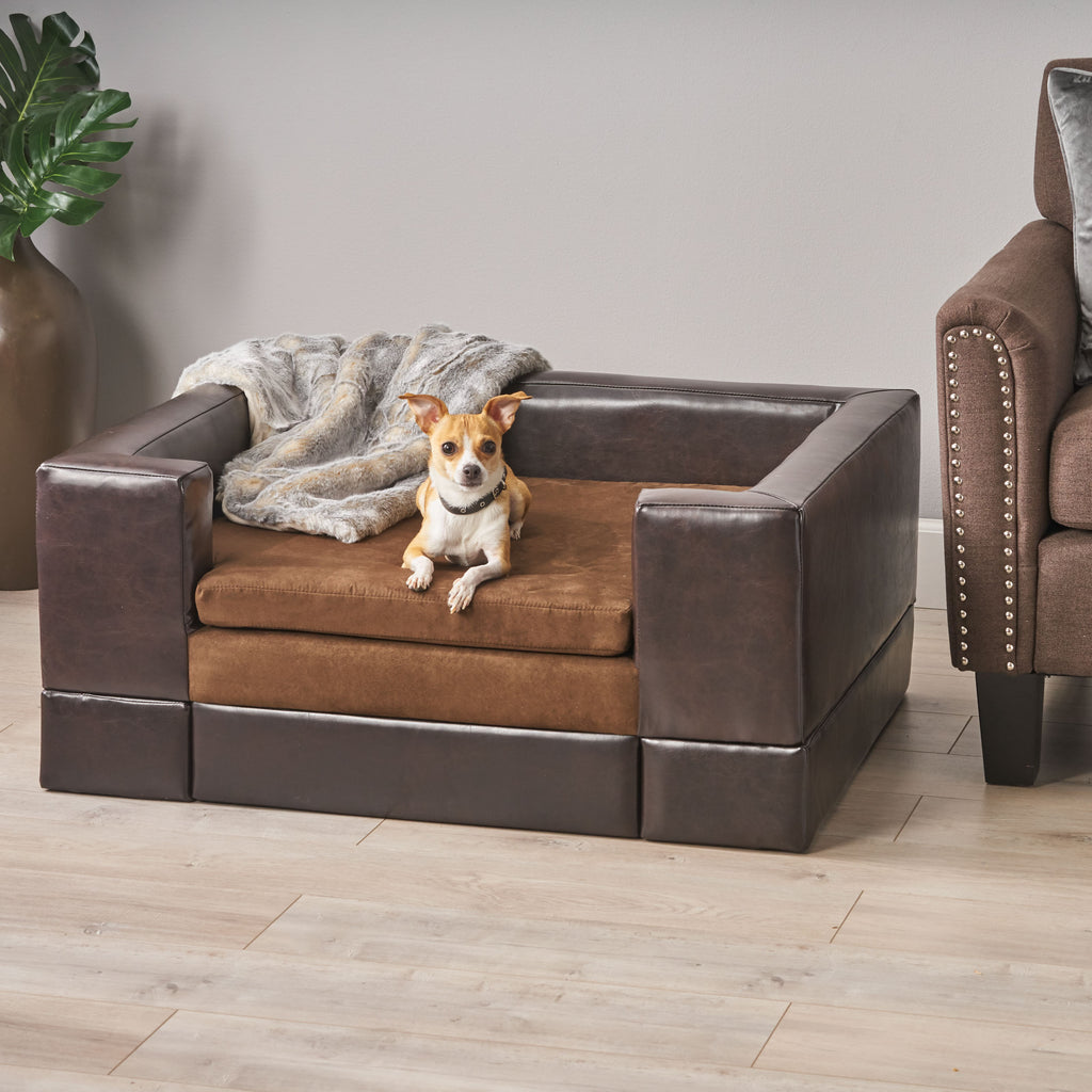 Rover Contemporary Upholstered Chocolate Brown Rectangular Dog Bed