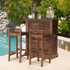 Catarina 30-Inch 3pc Mahogany Stained Wood Bar Stool Bar Set
