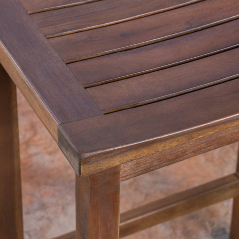 Cindy Outdoor Mahogany Brown Finish Acacia Wood Counter Stools