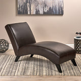 Cleveland Brown Leather Chaise Lounge Chair