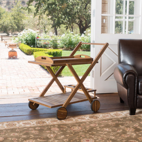 Jackson Natural Stained Acacia Wood Indoor Bar Cart
