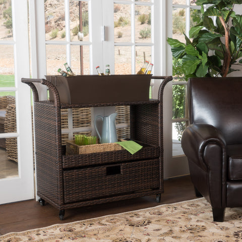 Tofino Multi-brown Wicker Indoor Bar Cart