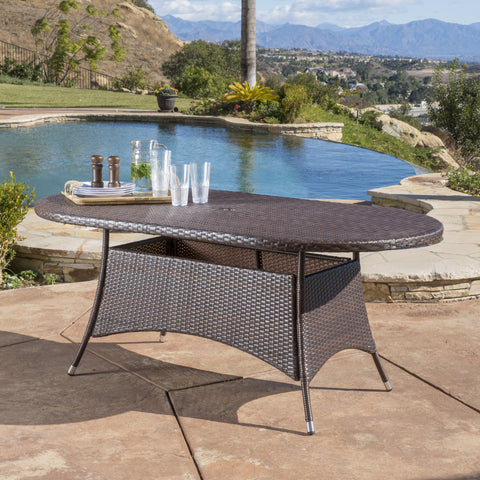 Bristle Multi Brown PE Oval Dining Table