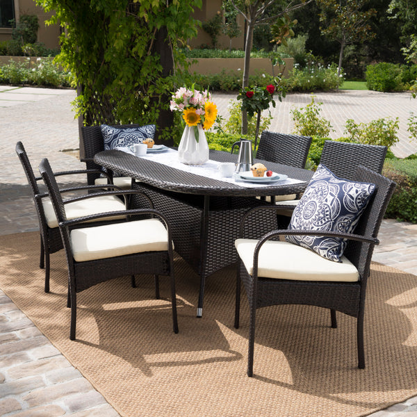 Carmela Outdoor 7pc Multibrown PE Wicker Long Dining Set