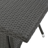 Bristle Contemporary Outdoor Square Gray Wicker Dining Table