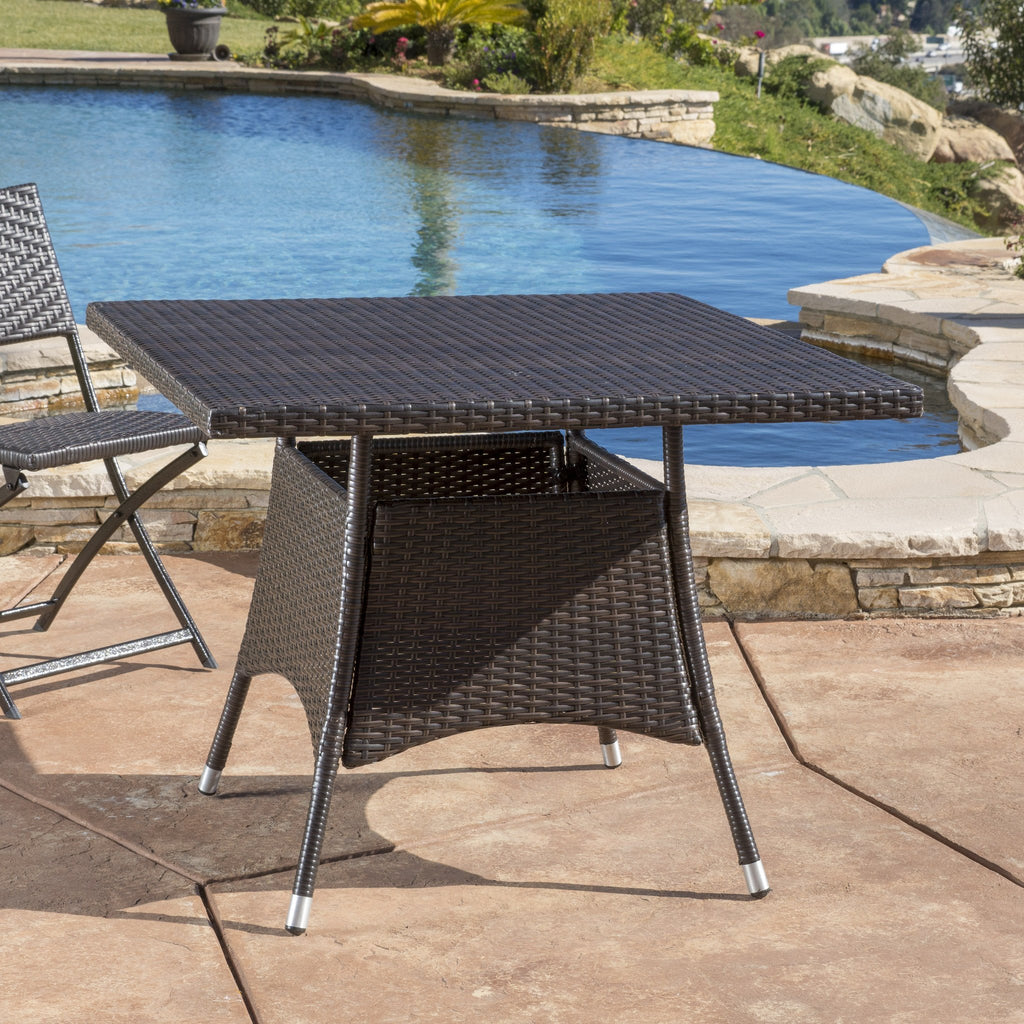 Kanasca Outdoor Multi Brown Polyethylene Square Dining Table