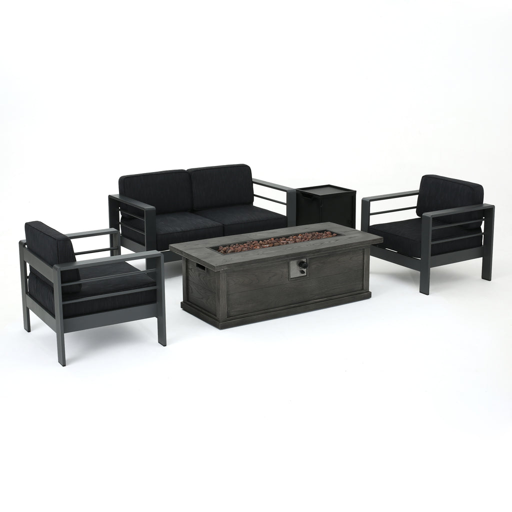 Coral Bay Outdoor Aluminum 5 Piece Chat Set with Fire Table