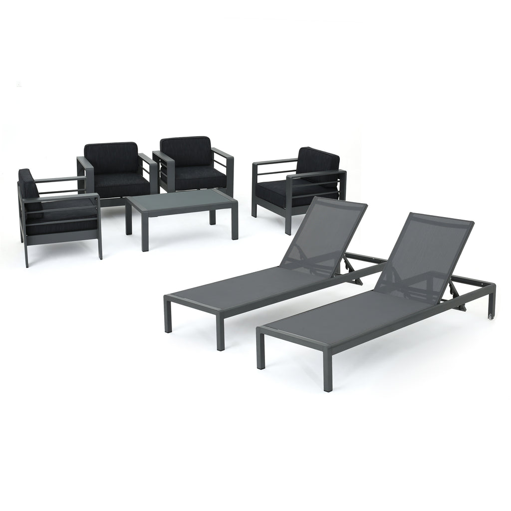 Coral Bay Outdoor Gray Aluminum 7 Piece Chat Set with Pair of Lounges