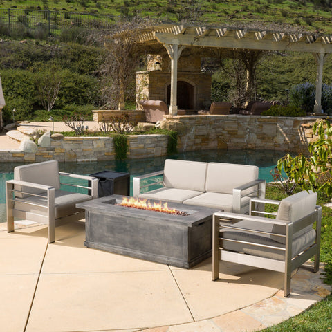 Crested Bay Outdoor Aluminum 3-piece Chat Set with 56-inch Rectangular Liquid Propane Fire Table