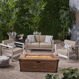 Cherie Outdoor 3 Piece Aluminum Chat Set with Cushions and Fire Pit