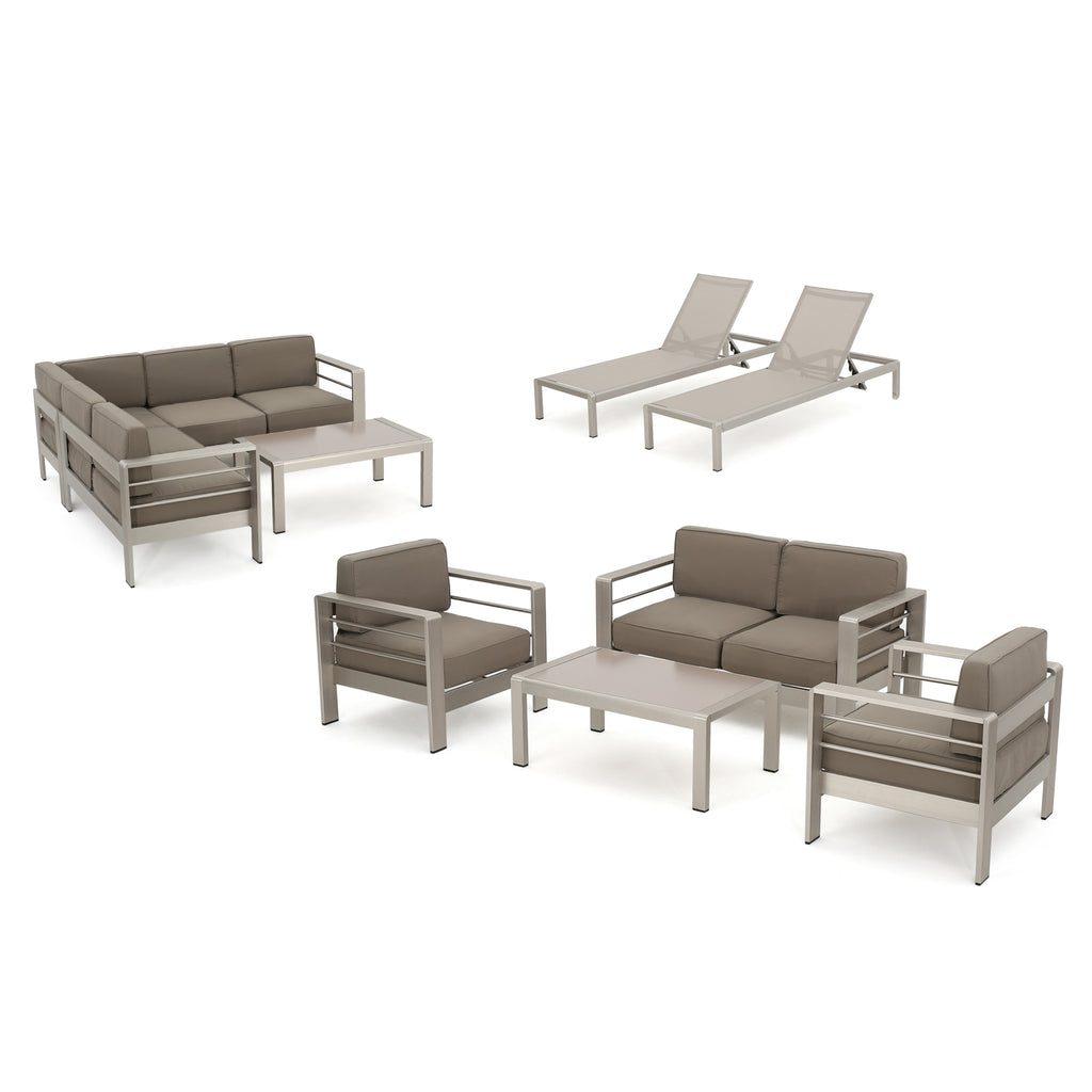 Crested Bay Outdoor Modern 10 Piece Silver Aluminum Sectional Set with Cushions