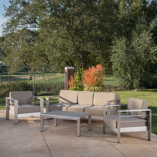 Coral Bay Outdoor 4 Piece Aluminum Chat Set with Cushions