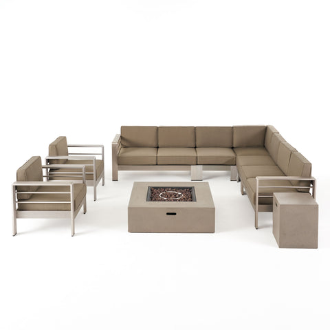 Danae Coral Outdoor 9 Seater Aluminum L-Shaped Sofa Sectional and Fire Pit Set