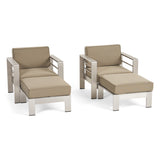 Emily Coral Outdoor Aluminum 2-Seater Club Chair Chat Set with Ottomans, Silver and Khaki