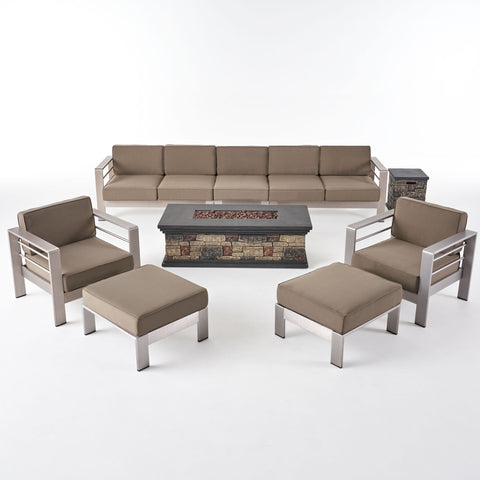Danae Coral Outdoor 7 Seater Extended Aluminum Chat Set with Fire Pit
