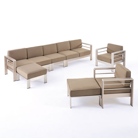 Danae Coral Outdoor 7 Seater Extended Aluminum Chat Set with Ottomans