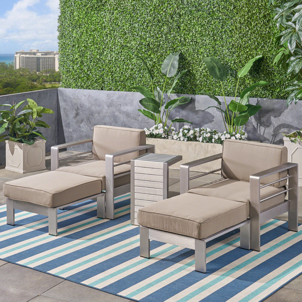 Emily Coral Outdoor Aluminum 2-Seater Club Chair Chat Set with Ottomans and Side Table
