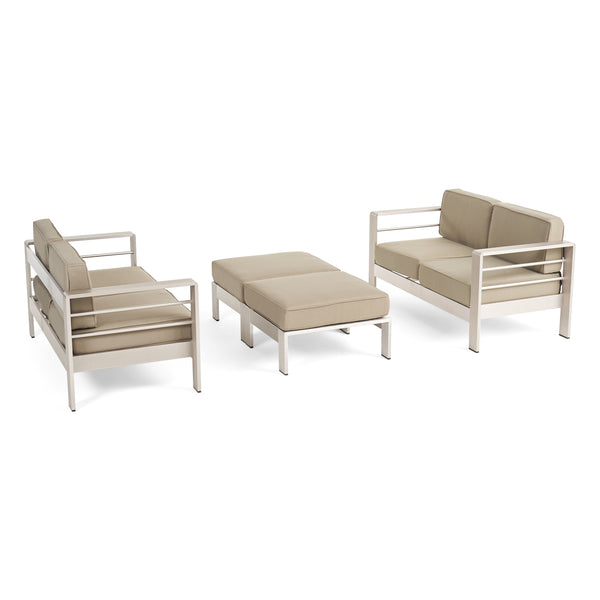 Emily Coral Outdoor 4-Seater Aluminum Loveseat and Ottoman Set, Silver and Khaki