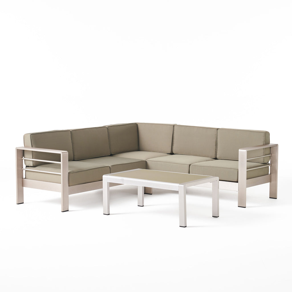 Sonora Outdoor Aluminum 4-piece Sofa Set with Cushions