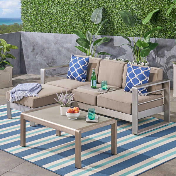 Emily Coral Outdoor Aluminum 3-Seater Sofa Set with Coffee Table and Ottman, Silver and Khaki