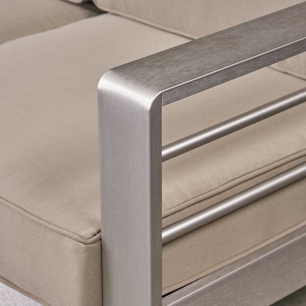Emily Coral Outdoor Aluminum 3 Seater Sofa Set With Coffee