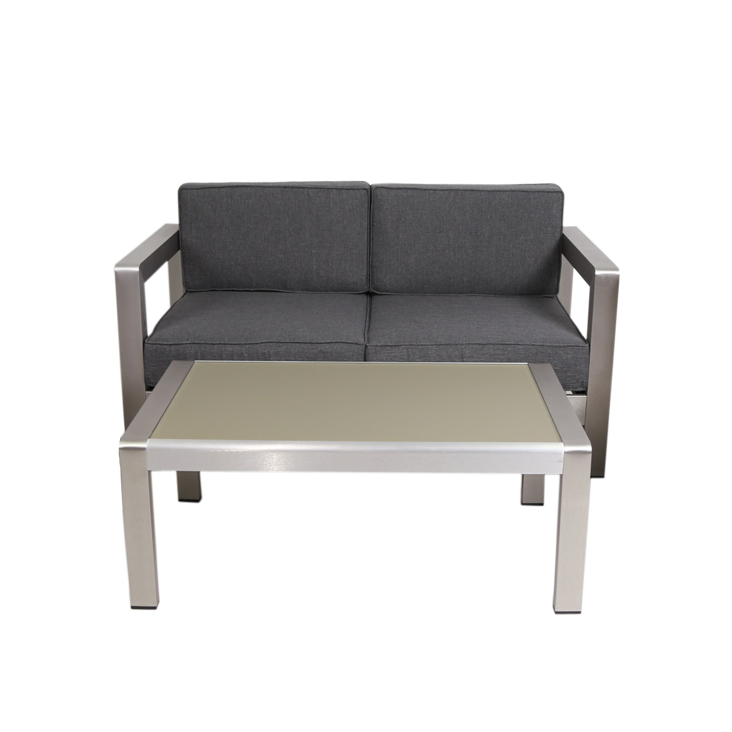 Alec Outdoor Aluminum Loveseat and Tempered Glass Topped Coffee Table Silver and Gray