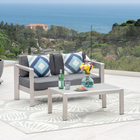 Alec Outdoor Aluminum Loveseat and Tempered Glass-Topped Coffee Table, Silver and Gray