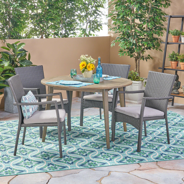 Hoff Outdoor 5 Piece Wood and Wicker Dining Set