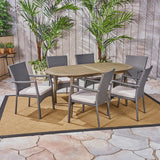 Stanfer Outdoor 7-Piece Acacia Wood Dining Set with Wicker Chairs