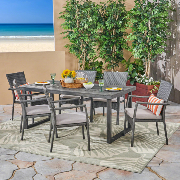 Dawn Outdoor 6-Seater Acacia Wood Dining Set with Wicker Chairs, Sandblast Dark Gray Finish and Gray