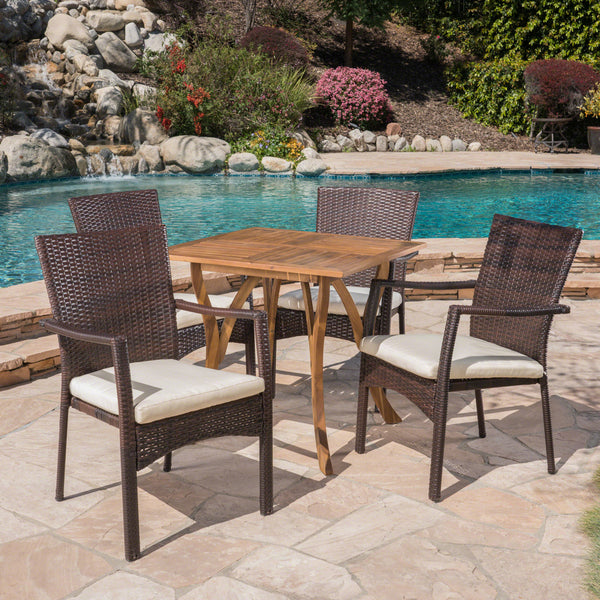Alva Outdoor 5 Piece Acacia Wood/ Wicker Dining Set with Cushions, Teak Finish and Brown with Crème