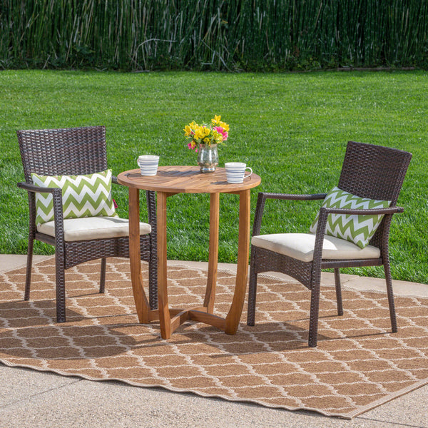 Alex Outdoor 3 Piece Acacia Wood/ Wicker Bistro Set with Cushions, Teak Finish and Brown with Crème