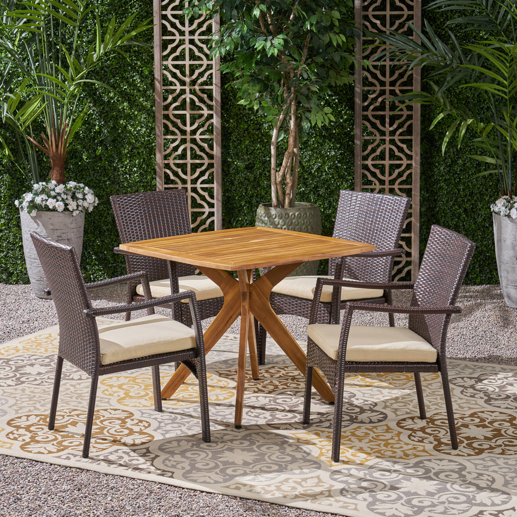 Holmes Outdoor 5 Piece Wood and Wicker Dining Set