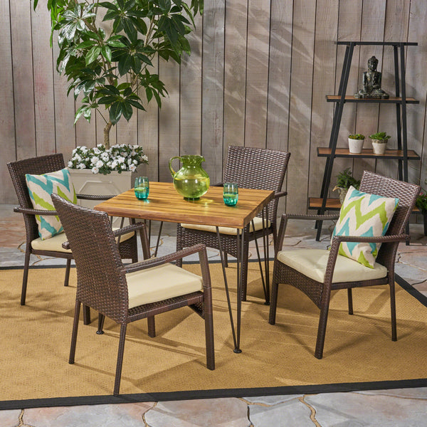 Archie Outdoor Industrial Wood and Wicker 5 Piece Square Dining Set, Teak and Brown and Crème