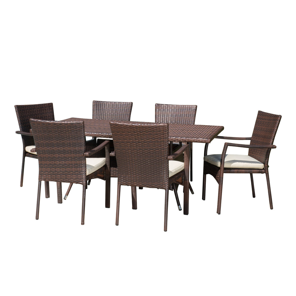 Grant Outdoor 7-piece Wicker Dining Set with Cushions