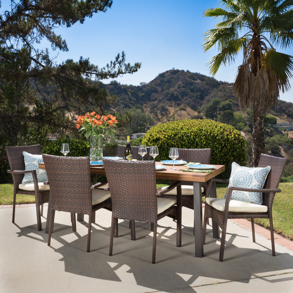 Castlelake 7 Piece Outdoor Dining Set (Wood Table w/ Wicker Chairs)