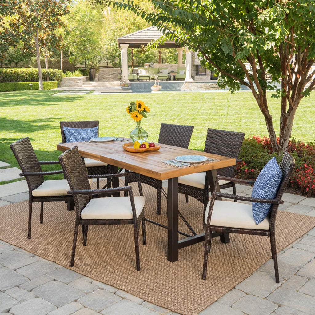 Landon Outdoor 7 Piece Dining Set with Teak Finished Wood Table and Brown Chairs