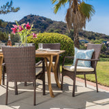 Caprise 7 Piece Outdoor Dining Set (Wood Table w/ Wicker Chairs)