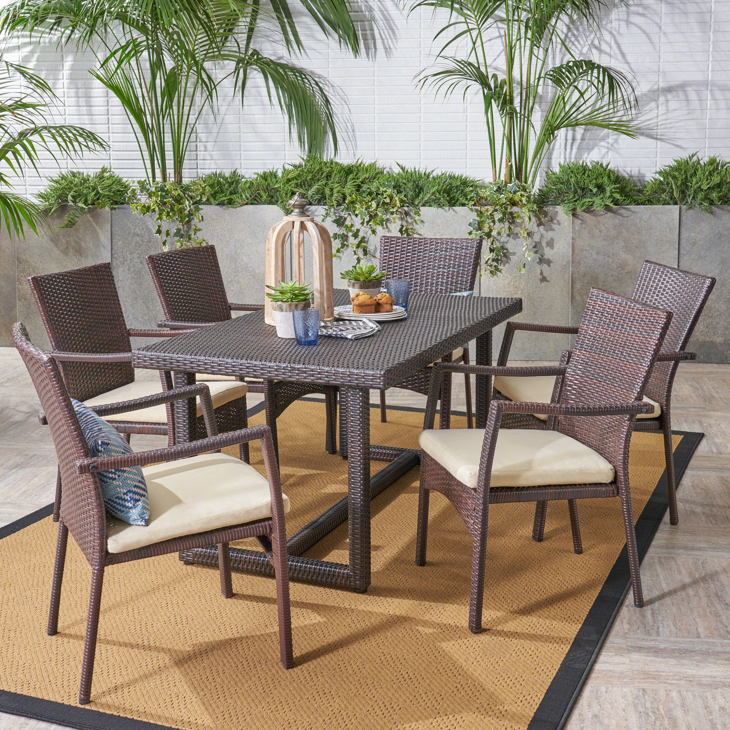 Able Outdoor Transitional 7 Piece Multi Brown Wicker Dining Set with Cushions
