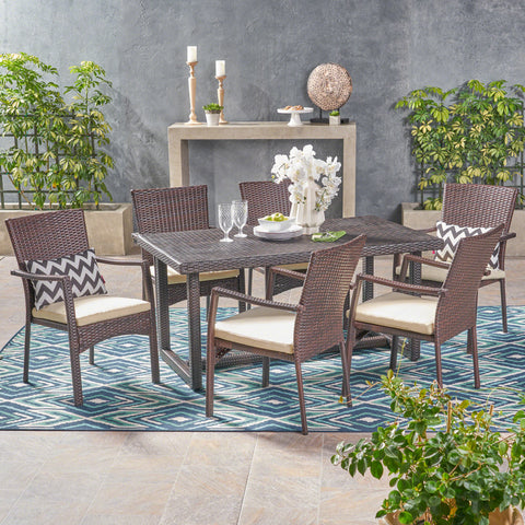 Able Outdoor 7 Piece Wicker Dining Set