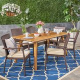 Michaelia Outdoor 7 Piece Acacia Wood Dining Set with Wicker Chairs, Teak and Brown and Cream