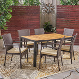 Faithe Outdoor 6-Seater Rectangular Acacia Wood and Wicker Dining Set, Teak with Black and Brown with Cream
