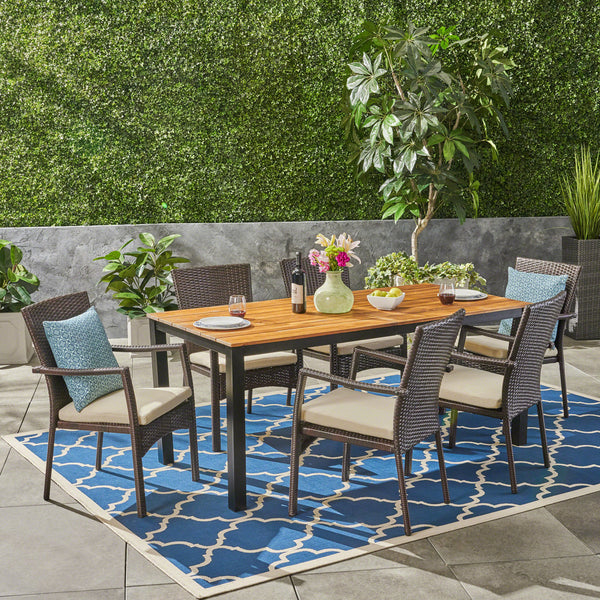 Elaine Outdoor 7 Piece Acacia Wood Dining Set with Wicker Chairs, Teak and Brown and Cream
