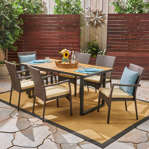Alice Outdoor 6-Seater Rectangular Acacia Wood and Wicker Dining Set, Teak with Black and Brown with Cream
