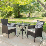 Ariel Outdoor 3Pc Wicker Bistro Set w/ Water Resistant Cushions