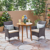 Land Outdoor 3 Piece Wood  and Wicker Bistro Set