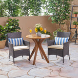 Poe Outdoor 3 Piece Acacia Wood and Wicker Bistro Set