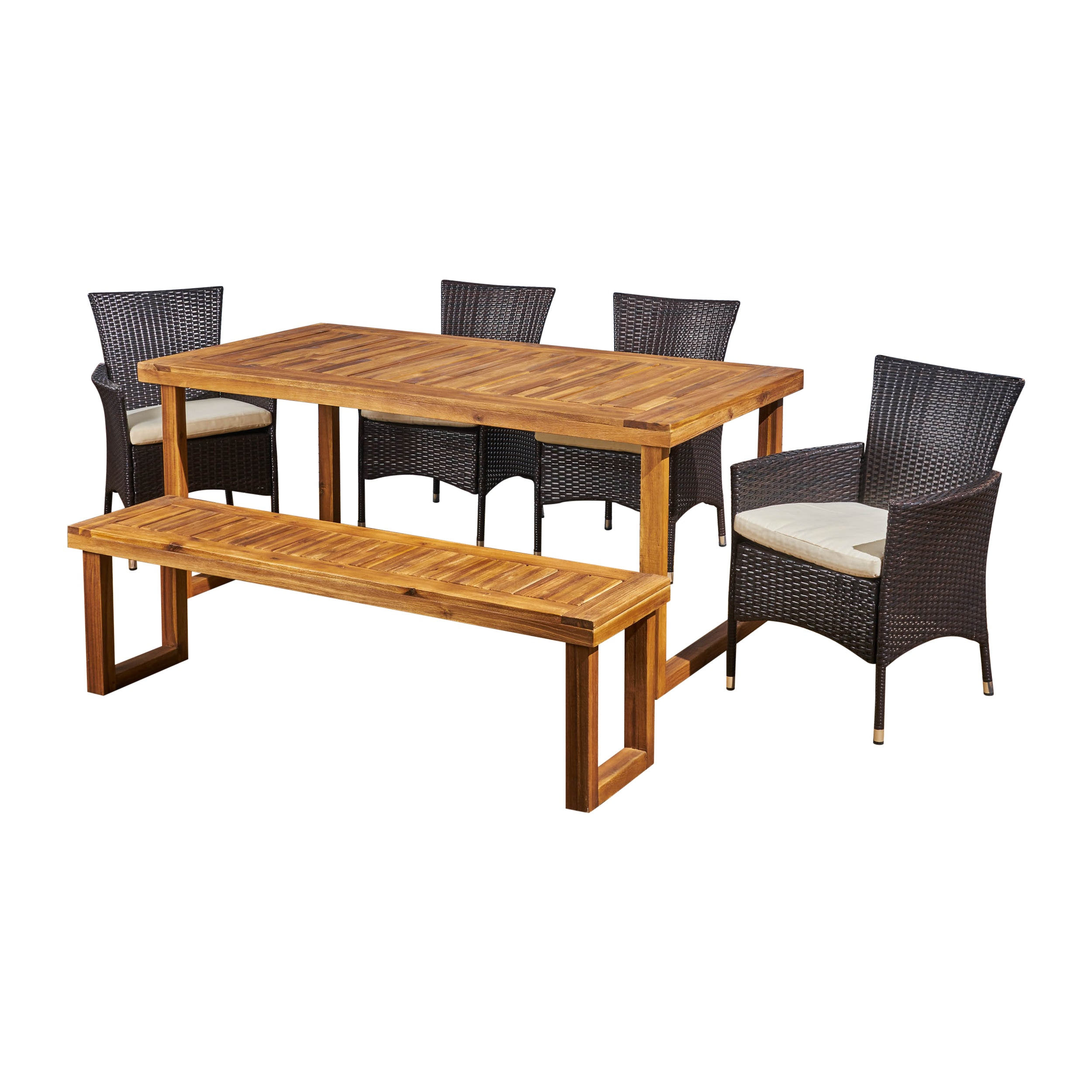 Agnes Outdoor 6 Seater Wood and Wicker Chair and Bench Dining Set SandBlast Dark Grey Gray Silver