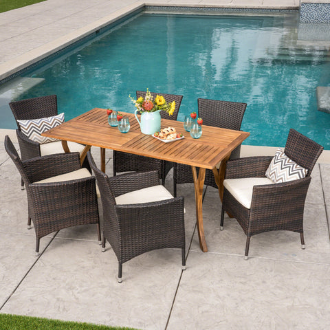 Anthony Outdoor 7 Piece Acacia Wood/ Wicker Dining Set with Cushions, Teak Finish and Multibrown with Beige