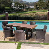 Louise Outdoor 7 Piece Multi-brown Wicker and Concrete Dining Set